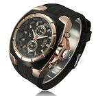 Men Stainless Steel Rose Gold Dial Silicone Strap Band Quartz Analog Wrist Watch