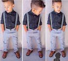NEW 2PCS Baby Boys Long Sleeve Shirt +  Braces with Trousers Outfits 1-6Y