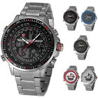 SHARK Men's Quartz Sport Army Wrist Watch LCD Date Day Stopwatch Stainless Steel