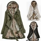 Military Parka Women's Padded Hooded Overcoat Puffer Jacket Outwear Trench Coat