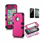 3 IN 1 Hybrid Rugged Rubber Matte Hard Case Cover For Apple iPhone 4 4S 4G +Film