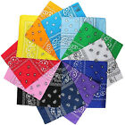 Lot Of 12 Paisley Print Scarf Bandanas 100% Cotton 1 Dozen Multi Colors 22 x 22
