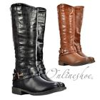 WOMENS GIRLS KNEE HIGH FLAT BIKER RIDING BOOTS BUCKLE STUD BLACK TAN BROWN SIZE