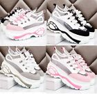 Womens Vogue Lace Up High Platform Trainers Sneakers Shoes Black/White/Pink A-39