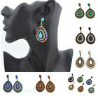 Vintage Crystal Colorful Peacock feathers Womens Dangle Waterdrop Stud Earrings