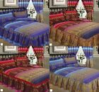 Kashmir Pink Blue Double King Fitted Frilled Luxury Ethnic Asian Duvet Bed Set