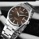 Stainless Steel Band Fashion Date Analog Quartz Sport Mens Wrist Watch Sliver