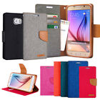 Canvas Diary Leather Wallet Case Flip Cover w/Silicone For iPhone Galaxy LG Lot