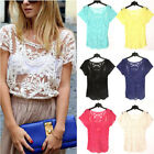 New Women Sexy Semi Sheer Embroidery Floral Lace Crochet Tee T-Shirt Top Blouse