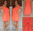 Sexy Womens Solid Color Bow-Knot Summer Cocktail Casual Party Chiffon Dress Tops