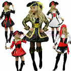 Pirate Fancy Dress Costume Ladies Outfit Cosplay Size 6-20 Buccaneer Caribbean