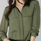 Women's Black chiffon Long-sleeved button down dress Shirt Blouse ladies tops