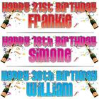 """PERSONALISED BIRTHDAY BANNER 3ft - 36""""x11"""" 18th 21st 30th 40th 50th CELEBRATION"""