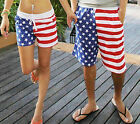 FD2097 Men Women Star Stripe American Flag Swimming Board Shorts Trunks L XL 2XL