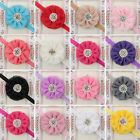 Lovely Baby Girls Kids Pearl Rhinestone Chiffon Flower Hair Band Headband