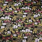 Lily Pond Asian Pictoral Red, Black & Metallic Gold, Transpacific Cotton Fabric