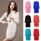 Womens Hollow Lace Party Cocktail Evening Bodycon Pencil Dress 3/4 Sleeve