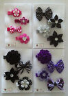 SET OF 4 BOW AND FLOWER HAIR CLIPS - 4 COLOURS
