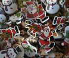Christmas wooden buttons embellishments.  Santa Snowmen Father Christmas Tree