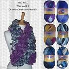 1/2 PRICE - CEWEC MAYA RUFFLE SCARF YARN 200G - MAKES 2 OF SCARVES ILLUSTRATED