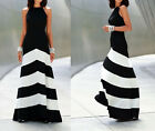 Graceful Lady Stripe Long Boho Dress Empire Waist Halter Beach Maxi Cotton Dress