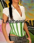 Underbust real Leather corset green white tight 1214GR
