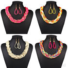 Women Fashion Braid Chain Alloy Charm Pendant Chunky Statement Bib Necklace Gift