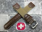 New Leather double Layer Nylon Strap Band Brown Army 22mm 21 20 for Wenger Swiss