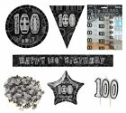 100th Birthday/Age 100 - BLACK/SILVER Party Items, Decorations, Tableware