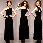 Womens Charming Sexy Black Solid One Shoulder Evening Party Maxi Long Dress 4724