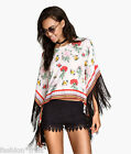 H&M Loves Coachella New Floral Fringed Tunic White Beach Poncho Cover-Up UK10 12