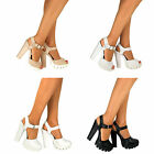Ladies Mid Block Heel Buckle Strappy Sandals Cleated Sole Chunky Platforms Size