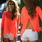 Hot Womens Sexy Ladies Summer Loose Casual Chiffon Backless T Shirt Blouse Tops