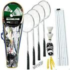 NEW 4 Player Badminton Rackets Set Net Poles Outdoor Garden Games Activty Fun