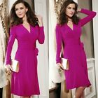 Women Undetachable Waistband V Neck Long Sleeve Solid Wrap Elegant Ladies Dress