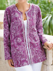 ULLA POPKEN Cotton Embroidered & Beaded Open Jacket PURPLE / WHITE 20/22 - 32/34