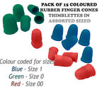 Rubber Finger Cones Thimblettes Pack Of 15 - Coloured  In 3 Sizes -  00, 0 And 1