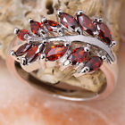 Leafage Red Garnet GEMSTONES Silver Jewelry Ring Size6 /7 /8 /9 T7064