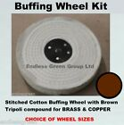 1st Stage Metal Polishing Kit  - Stitched Cotton & Brown Tripoli buffing bar