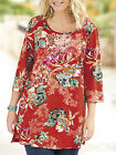 ULLA POPKEN Red TROPIC FANTASY Floral Knit Tunic Top Sizes 12/14 to 36/38