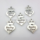 "5/20/160pcs Tibetan Silver Heart Crown Lettering ""beading diva"" Charms Pendant"