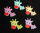 Novelty Animal Wooden Giraffe Craft Button Choice of Pack Size & Colour or Mixed