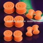 2x Orange Flexible Silicone Spiral Ear Tunnel Plugs Expander Stretcher Piercing