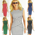 NEW Women Summer Striped Bodycon Slimming Casual Party Wear to Work Pencil Dress