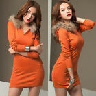 Korean Trendy Women Hooded Mini Dress Long Sleeve T-shirt Solid Slim V-neck New