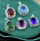 Fashion 5 Color Women 925 Sterling Silver Plated  Crystal Necklace Pendant Chain