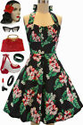 50sStyle PLUS SIZE Black HAWAIIAN HIBISCUS Print Pinup Betty HALTER TOP SunDress