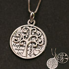 925 Sterling Silver Tree of Life and Love Heart Dual Oval Pendant Necklace w Box