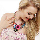Charm Flower Crystal Choker Chunky Statement Bib Necklace Jewelry Chain Pendant
