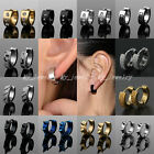 Punk Hoop Huggie Studs Cuff 2pcs Stainless Steel Men Women Earrings Gold Silver